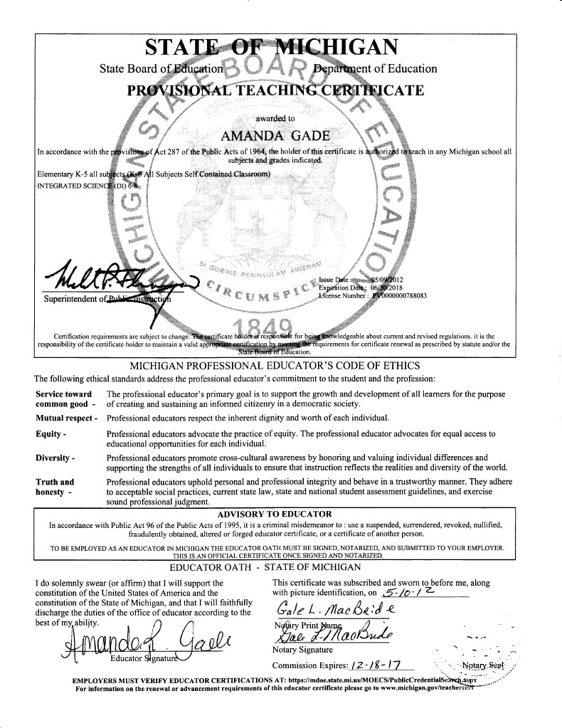 Teaching Certificate Signed Virtue Government Information