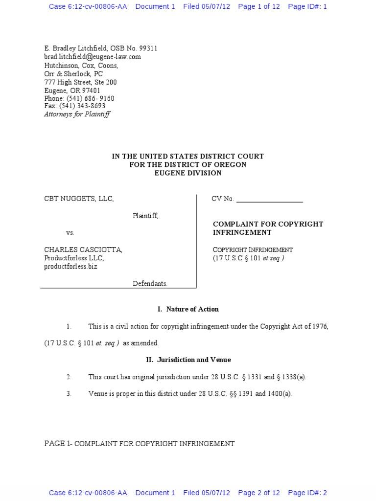 CBT Nuggets, L L C  v  Charles Casciotta et al Copyright Complaint