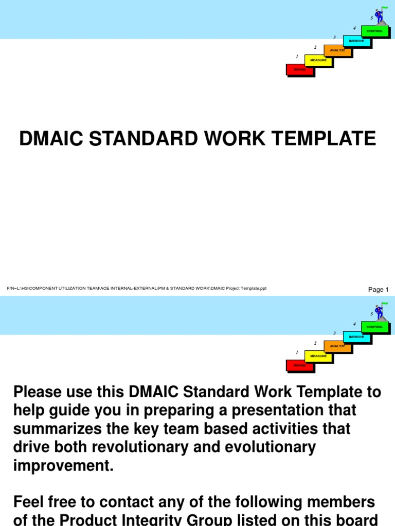 Dmaic Project Template Business