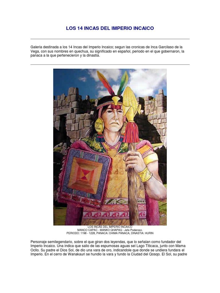 Los 14 Incas Del Imperio Incaico Imperio Inca Personas