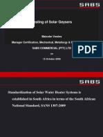 Testing of Solar Geysers ~ M Vowles