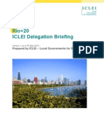 ICLEI Rio+20 Delegation Briefing 30 May 2012