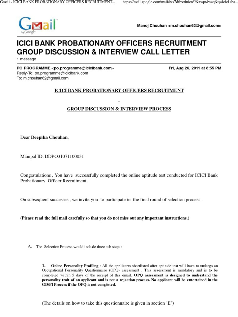 Gmail icici bank po gd pi call letter login email for Interview call letter template