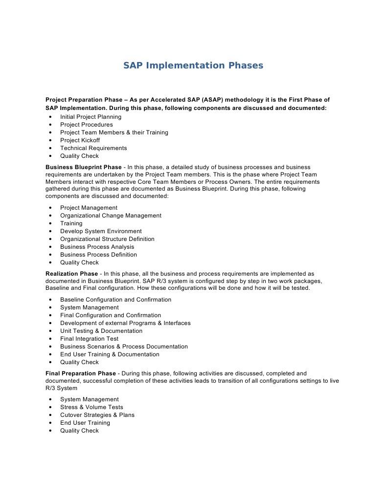 sap implementation phases implementation business process - Process Documentation Methodology