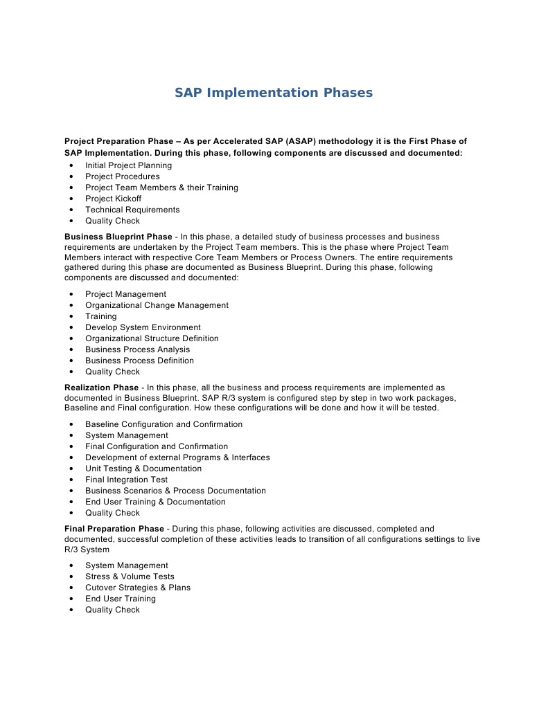 Sap implementation phases implementation business process malvernweather Choice Image