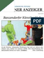 Atelierbesuch in Banzendorf, Titelseite Märkische Zeitung, 17. 05. 2012