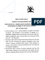 Joint Communique Issued At The Conclusion of The State Visit of Ugandas President Yoweri Museveni To The State Of Eritrea. (May 2012)