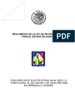 REGLAMENTO DE LA LEY DE PROTECCIÓN CIVIL PARA EL ESTADO DE SONORA