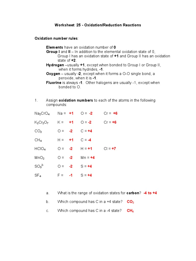 Uncategorized Redox Worksheet worksheet oxidation number thedanks for everyone 25 redox key nitrogen