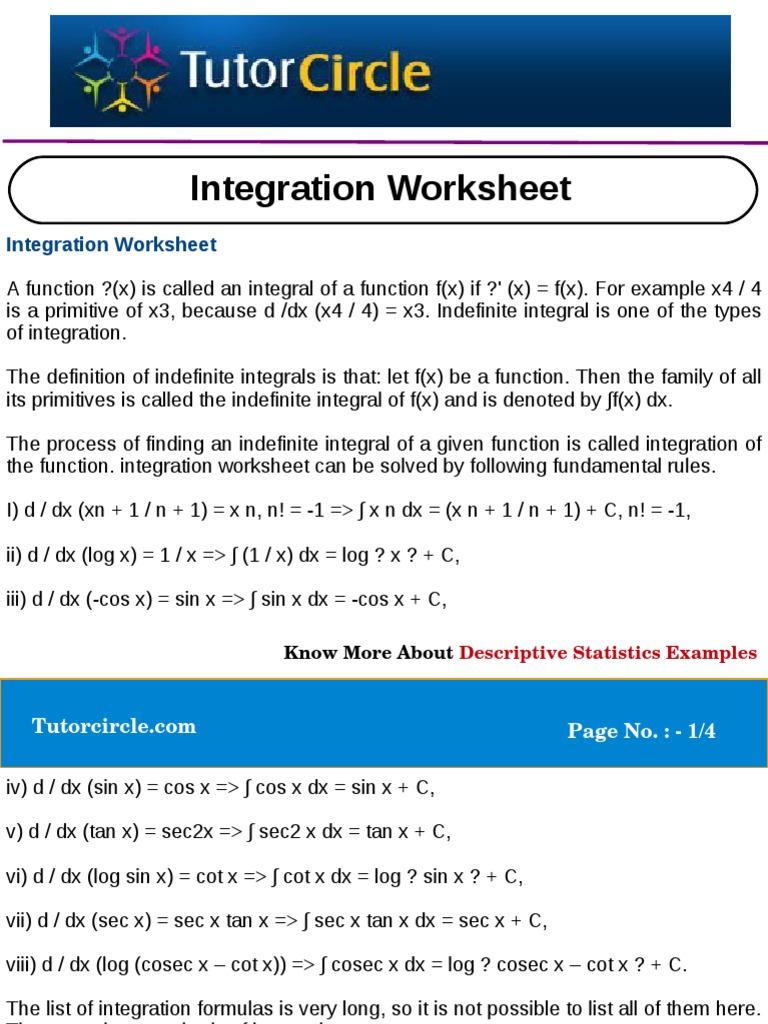 Integration Worksheet Integral Trigonometric Functions