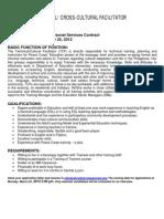 Peace Corps Education Technical /Cross Cultural Facilitator