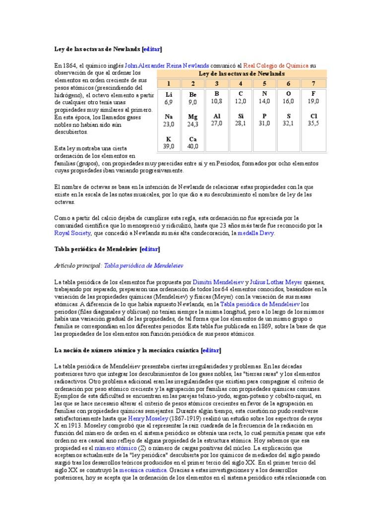 Ley de las octavas de newlands urtaz Image collections