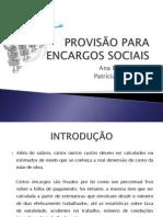 PROVIS+âO PARA ENCARGOS SOCIAIS