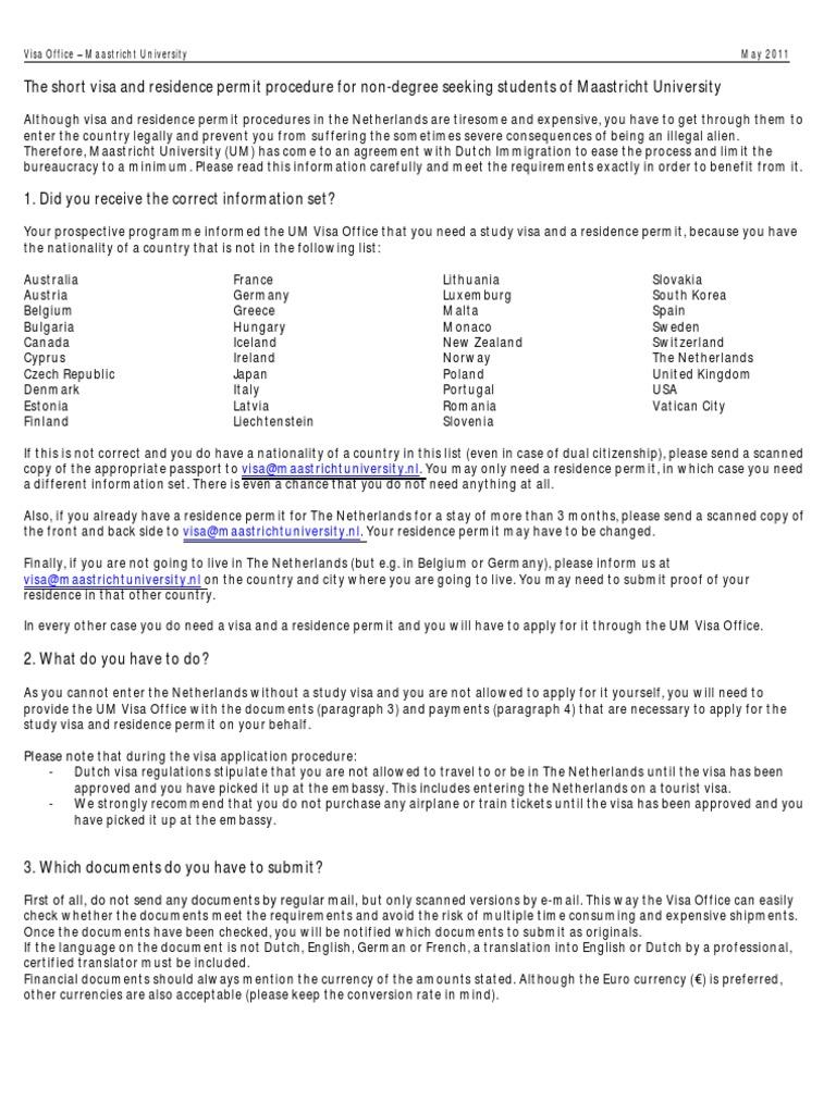 Tev The Short Visa And Residence Permit Procedure Feb 2012 Copy Travel Visa Passport  Applying