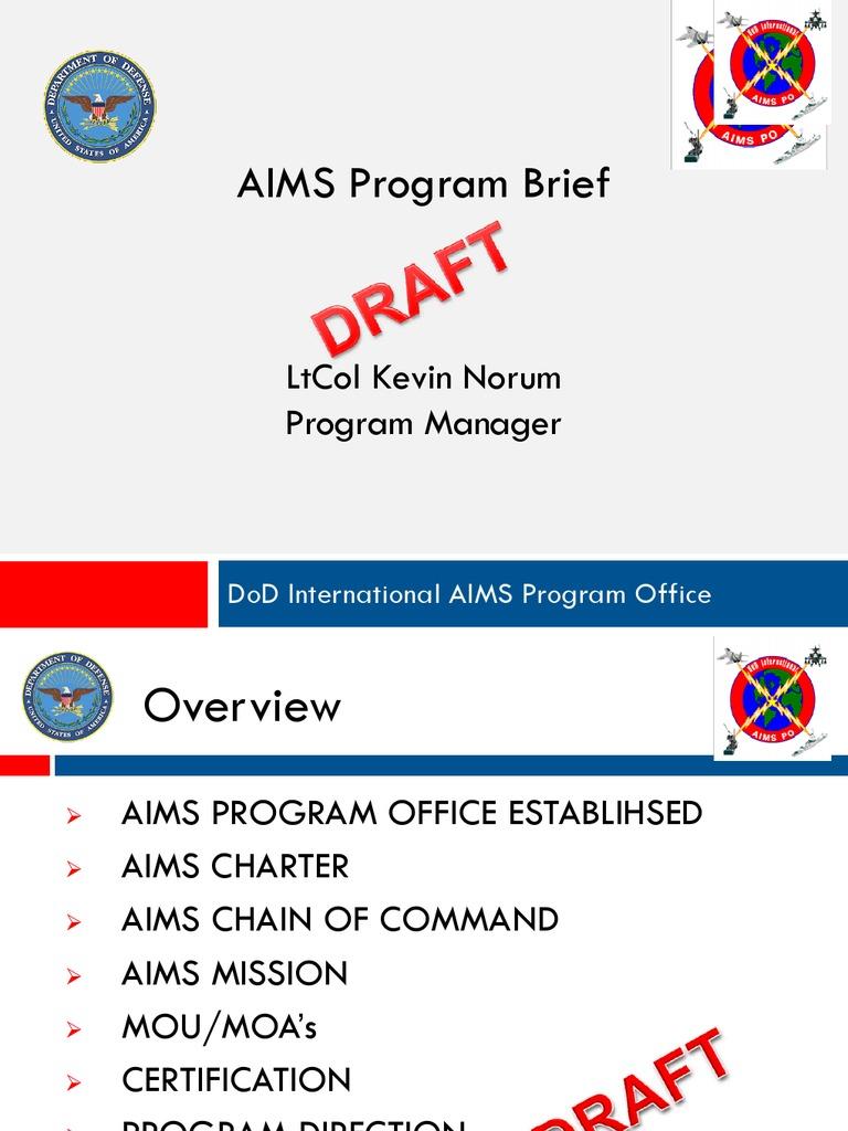 01 Aims Brief Lt Col Norum United States Department Of Defense