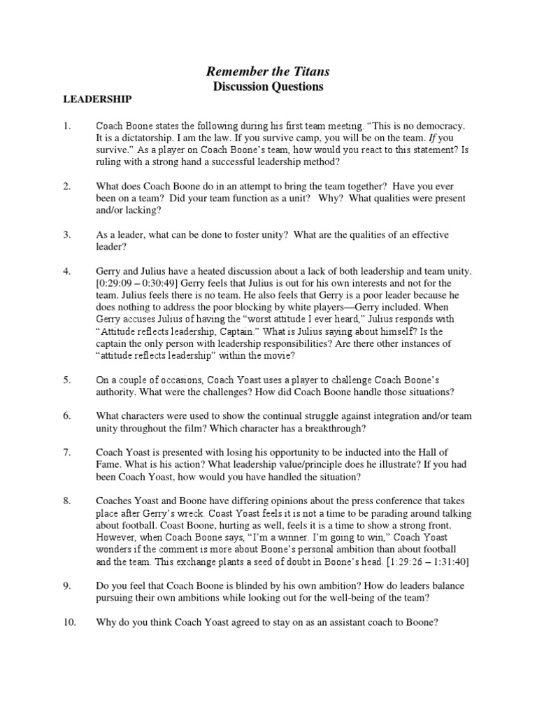 Remember the Titans Discussion Guide Leadership – Remember the Titans Worksheet