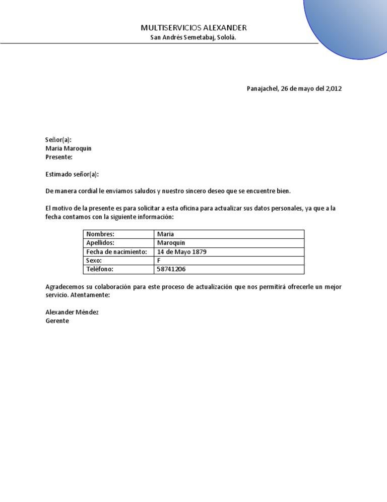 Carta Solicitud Actualizacion