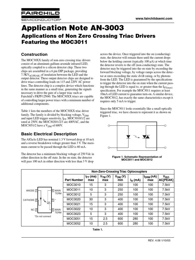 An-3003 Applications of Non Zero Crossing Triac Driver