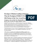 Energy Star Award for AVR Home Builders