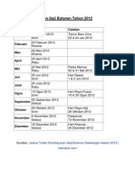 Tarikh Pembayaran Gaji Bulanan Tahun 2012
