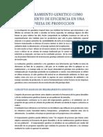 El Mejoramiento Genetico Como to de Eficiencia en Una Empresa de Produccion Bovina