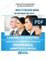 Concurso PBH 2012 - Assist en CIA Social - Prova de Psicologia -