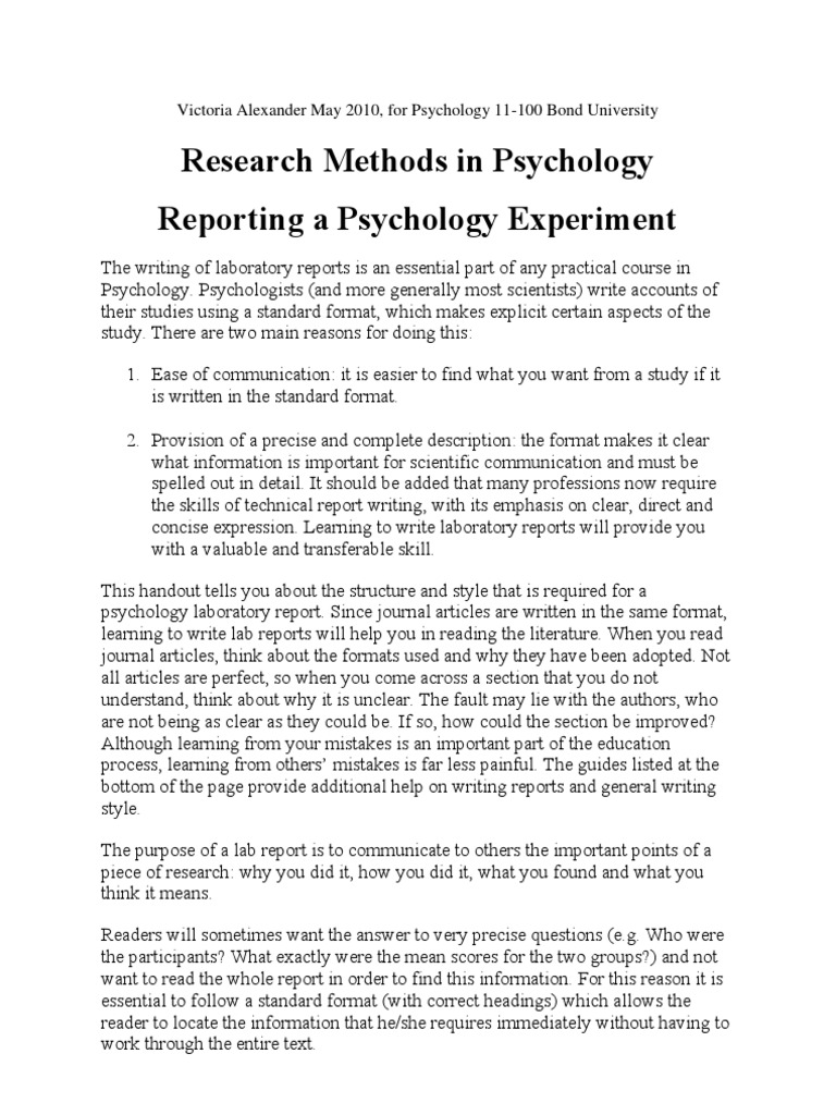 Writing Lab Reports For Psychology17  Experiment  Statistical