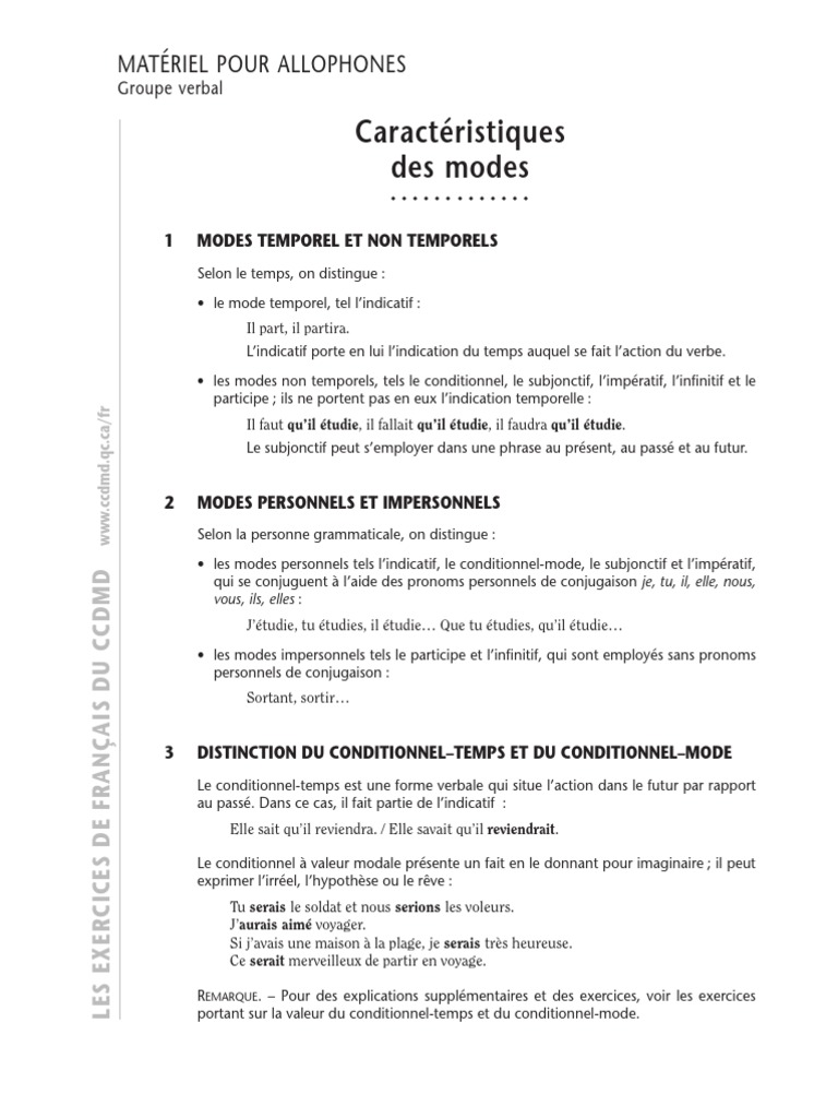 Les modes exercices corrig s for Portent verbe