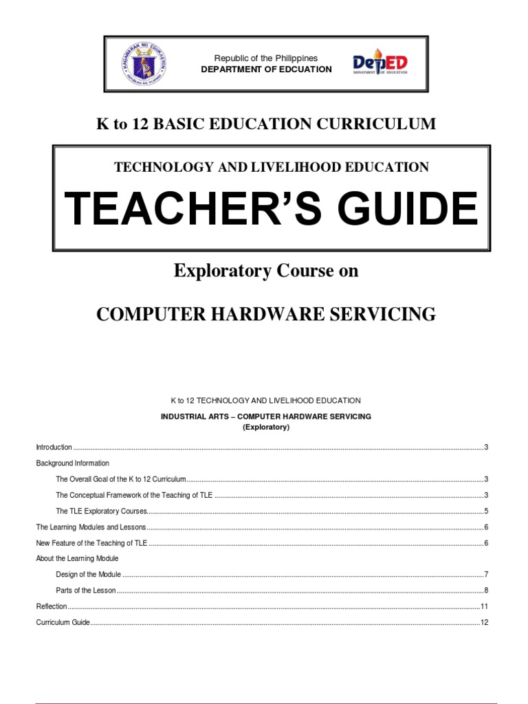 k to 12 Pc Hardware Servicing Teacher's Guide | Curriculum | Occupational  Safety And Health
