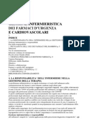 Indice Dei Farmaci.Gestione Infermieristica Dei Farmaci D Urgenza E Cardiovascolari