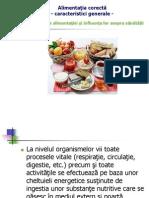 Alimentaţia corectă – caracterizare generală