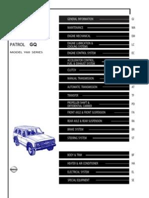 GQ Patrol Service Manual - Y60   Motor Oil   Manual Transmission