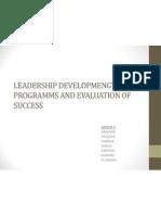 Leadership Developmengt Programms and Evaluation of Success