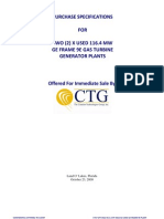 GE FRAME 9E  GAS TURBINE GENERATOR Plant Spec Data