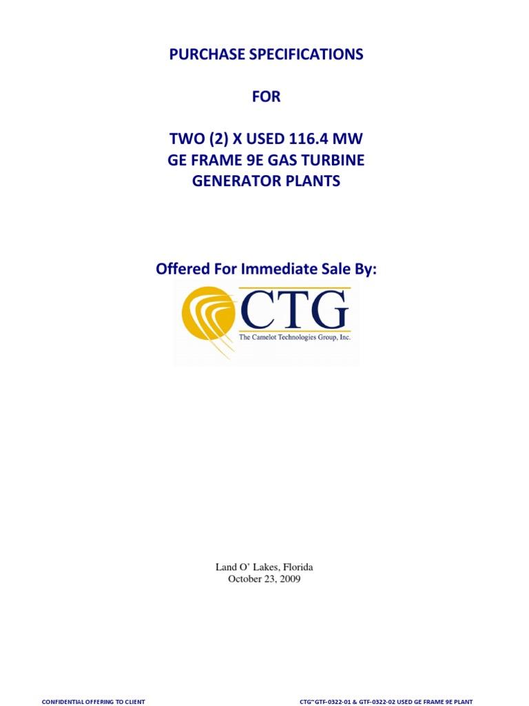 GE FRAME 9E GAS TURBINE GENERATOR Plant Spec Data | Gas Turbine