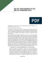 Mensaje Del Papa Benedicto XVI Para La Cuaresma 2012