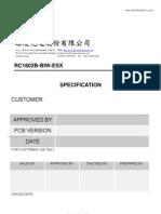 Datasheet Raystar Rc1602b BperW ESX