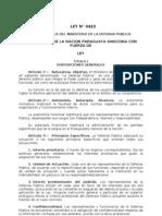 Ley 4423 Organica Del Ministerio Dela d.p