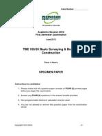 TBE 105 Specimen Paper