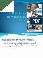 Reacciones Transfusionales Tardías