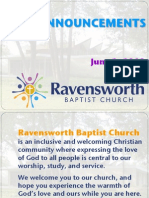 Ravensworth Baptist Church Announcements, 6/3/12