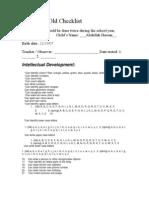 Four Year Old Checklist