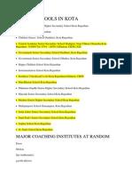 List of Schools in Kota