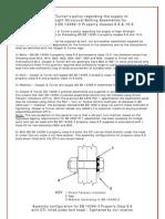 C&T Policy Regarding en 14399-3 PC 8.8 & 10.9