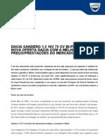 Comunicado de Imprensa | Dacia Sandero 1.2 16v 75cv Bi-Fuel