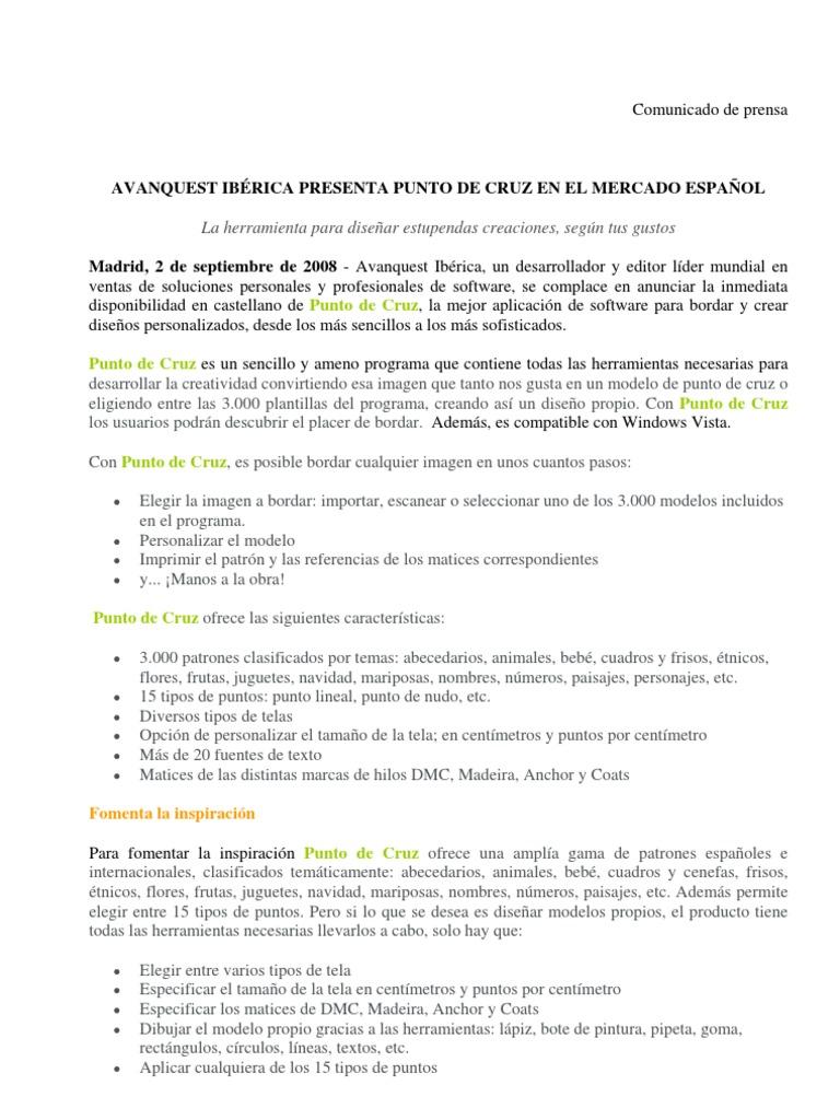 080902 AVQ Avanquest Iberica Presenta Punto de Cruz Tcm18-112529