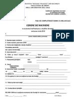 Formular Cerere Inscriere Licenta DREPT 2012