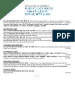 Police Daily Crime Bulletin 20120604