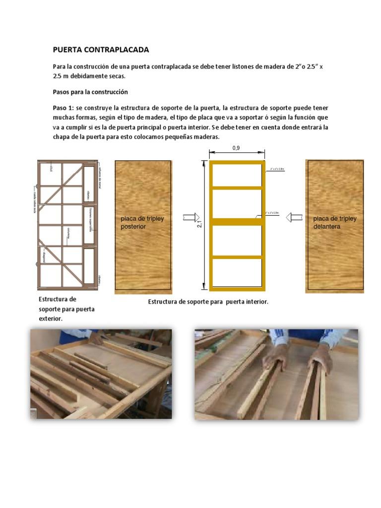 Puerta contraplacada for Como hacer una puerta de madera para exterior