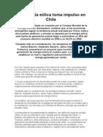 La energía eólica toma impulso en Chile